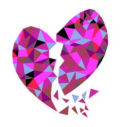 abstract geometric polygon broken heart vector image