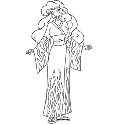 African Woman In Kimono Coloring Page vector image