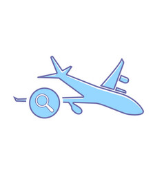 airplane flight plane search transport travel icon vector image