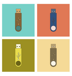 Assembly flat icon flash drive vector