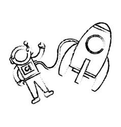 astronaut rocket floating sketch vector image