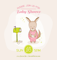 baby girl kangaroo with mail - baby shower card vector image