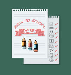 Back to school sale banner on green background vector