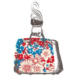 Bag flower patterned flower red blue print d vector