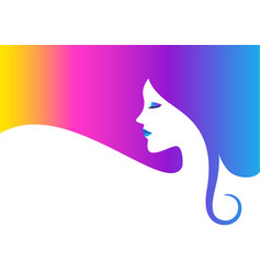 Beautiful woman face with colorful hair vector
