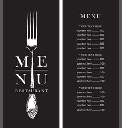black and white restaurant menu with a price list vector image