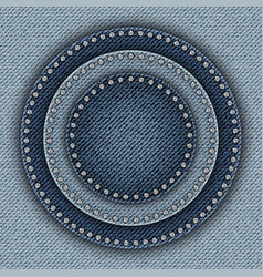 Blue denim circles with sequins vector