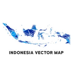 Blue triangle indonesia map vector