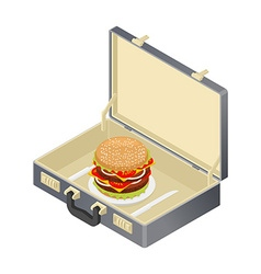 Business lunch hamburger in case suitcase with vector