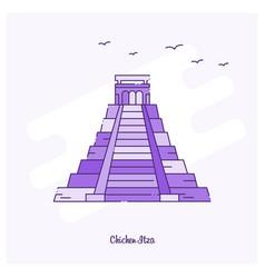 chichen itza landmark purple dotted line skyline vector image