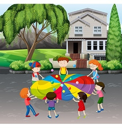 Children playing balance balls on the street vector