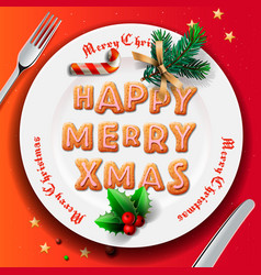 Christmas plate with gingerbread cookie table vector