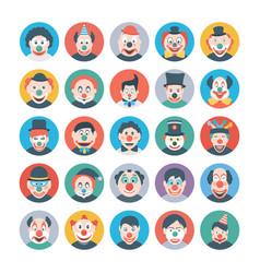 Circus jokers flat icons vector