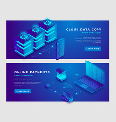 cloud data copy and online payments concept banner vector image