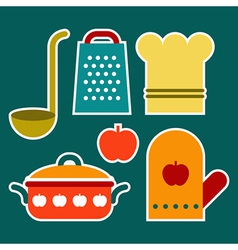Colorful kitchen symbols vector