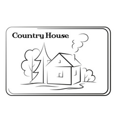 Country house pictogram vector