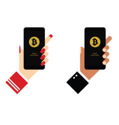 cryptocurrency on mobile phone in hands vector image
