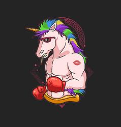 Cute boxer unicorn colorful vector