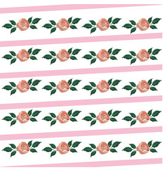 cute tropical roses with exotic leaves vector image
