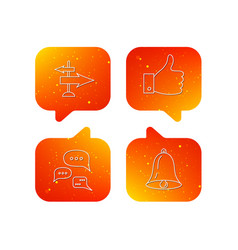 direction thumb up and conversation icons vector image