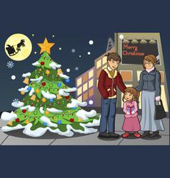 Family celebrating christmas vector