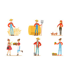 Farmers working at farm or garden set men and vector