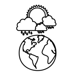 Figure earth planet with cloud rainning and sun vector