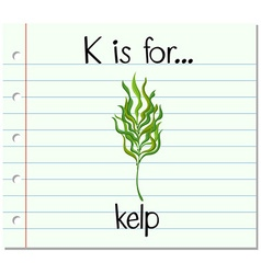 Flashcard letter K is for kelp vector