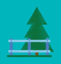 Flat icon in shading style fenced spruce vector