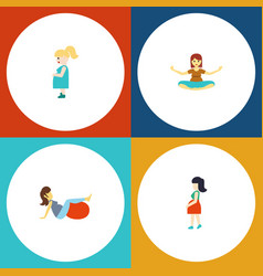 Flat icon pregnant set of pregnant woman sport vector