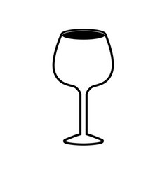 glass of champagne sour black silhouette vector image