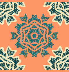 Green and orange color mandala ornamentdecorative vector