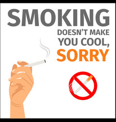 hand and no smoking sign poster vector image