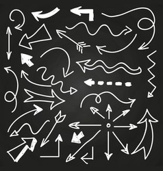 hand drawn arrows on chalkboard - doodle arrows vector image