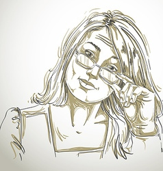Hand-drawn of beautiful business woman in do vector