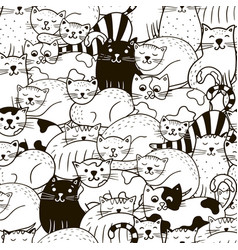 hand drawn seamless pattern with cute cats vector image