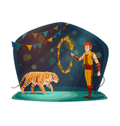 Handler with tiger jumping in fire on circus arena vector