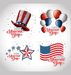 happy memorial day celebration set flyers vector image