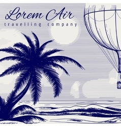 Hot air balloon ball pen poster vector