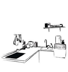 kitchen furniture sketch hand drawn cupboard vector image