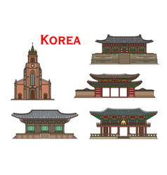 korean travel landmarks ancient buildings vector image