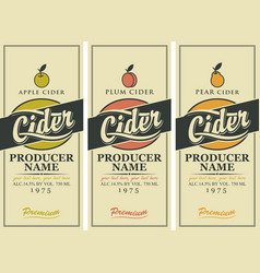 labels for cider with apple plum and pear vector image