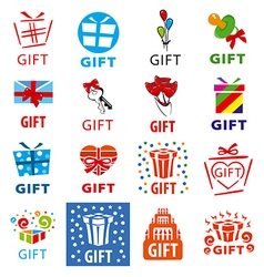 Large set of logos gifts vector