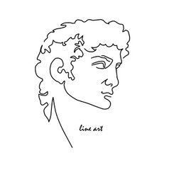 Line art head david michelangelo vector