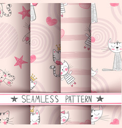 little princess - kitty seamless pattern vector image