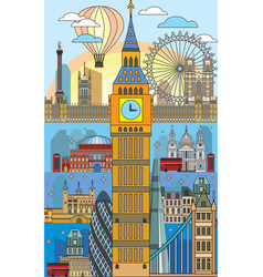 london colorful line art 10 vector image