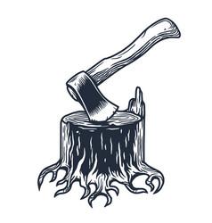 lumberjack stump with axe for axeman logo design vector image