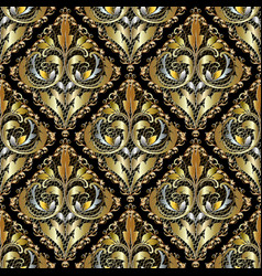 Luxury 3d baroque damask seamless pattern ornate vector
