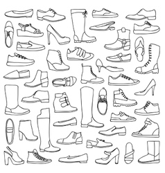 Man and woman doodle shoes vector