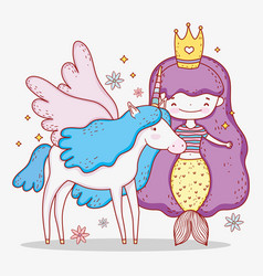 Mermaid woman wearing crown and unicorn with wings vector